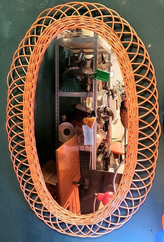 Large rattan mirror