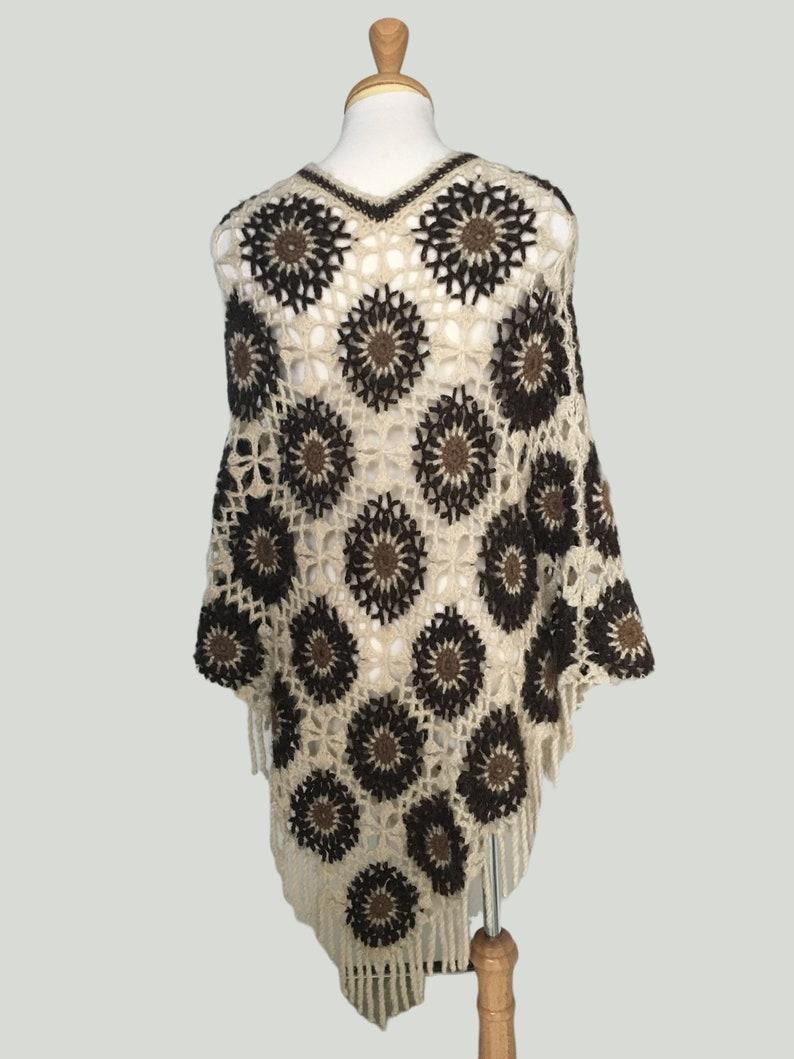 Vintage Hand Crochet Poncho Boho Crochet Sweater