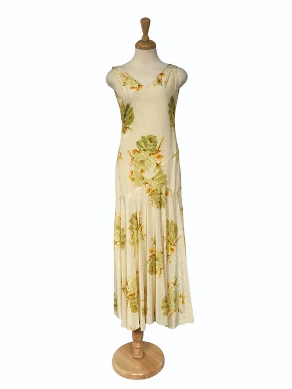 1930s Floral Maxi Dress, Garden Party Dress, Weddi