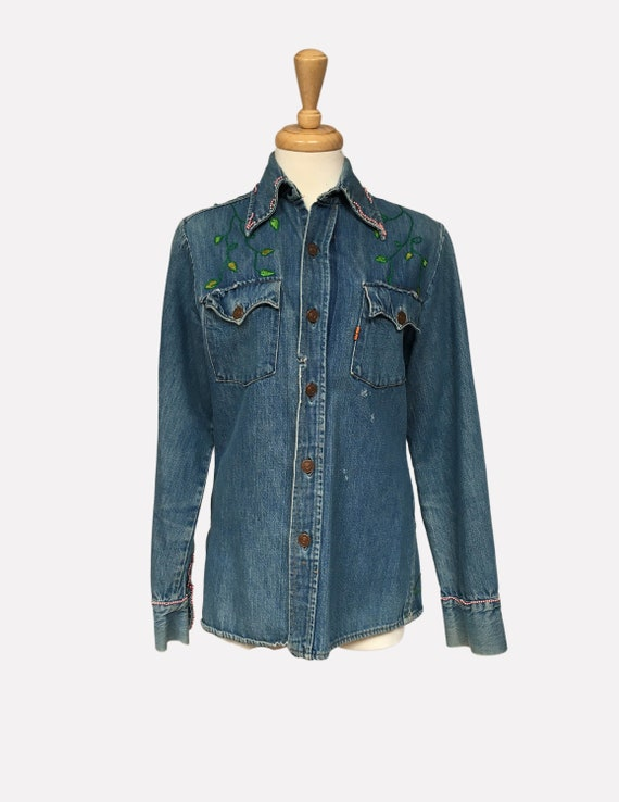 1960s Denim Shirt with Hand Embroidery, Vintage Le