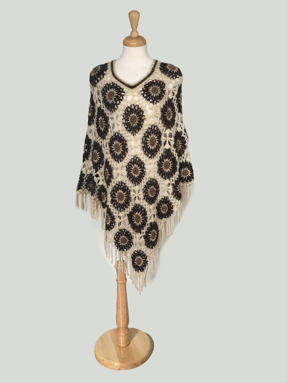 Vintage Hand Crochet Poncho, Boho Crochet Sweater