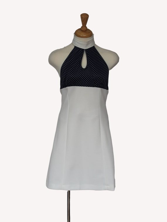 Vintage 1970s halter dress, Backless halter dress,