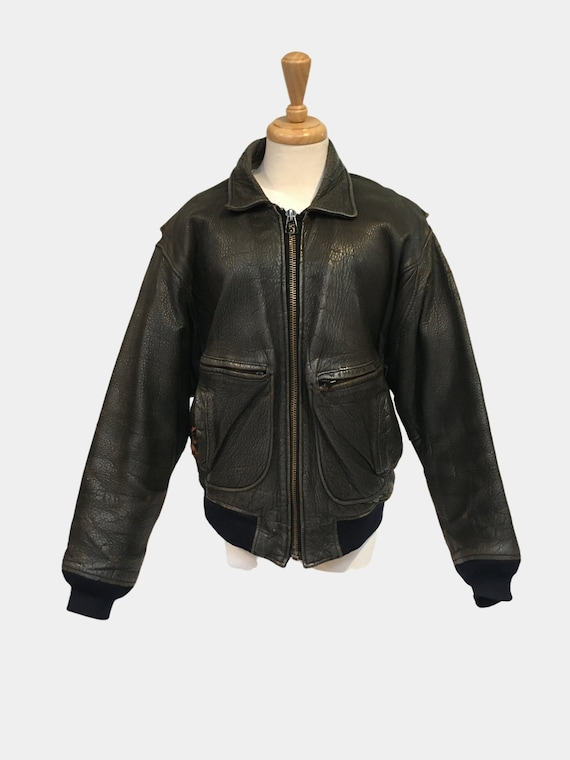 70s Leather Jacket, Aviator Jacket, Bomber Jacket,