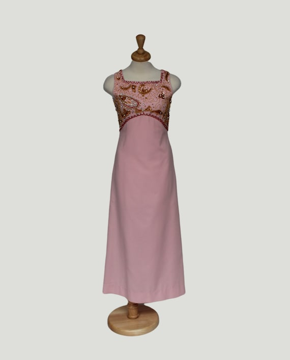 Vintage 1960s Sheath Dress, Pink Beaded Rhinestone