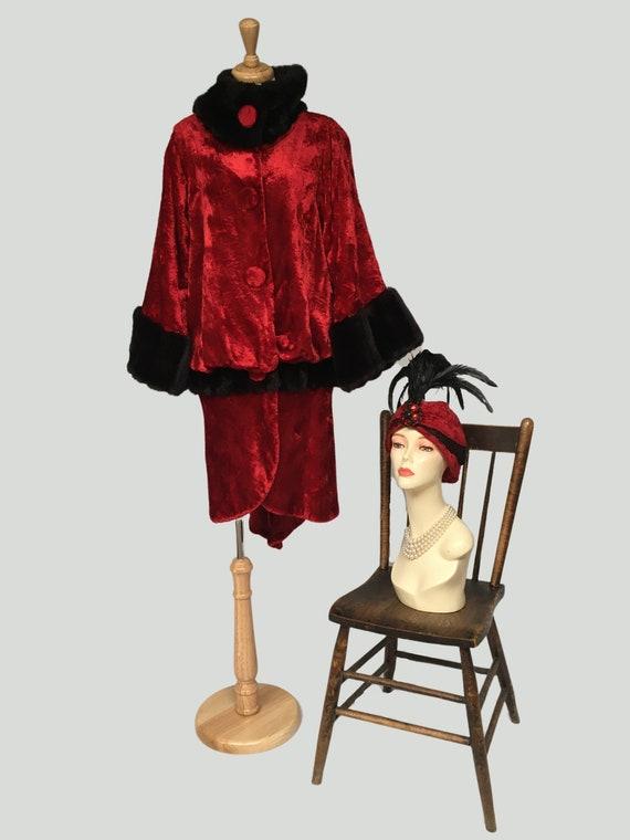 Velvet Coat, Cloche Hat, Opera Coat, Red Velvet Co