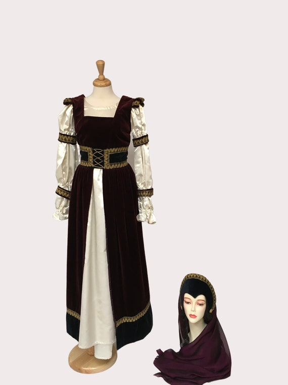 LARP Dress, Medieval Dress, Medieval Headdress, Re