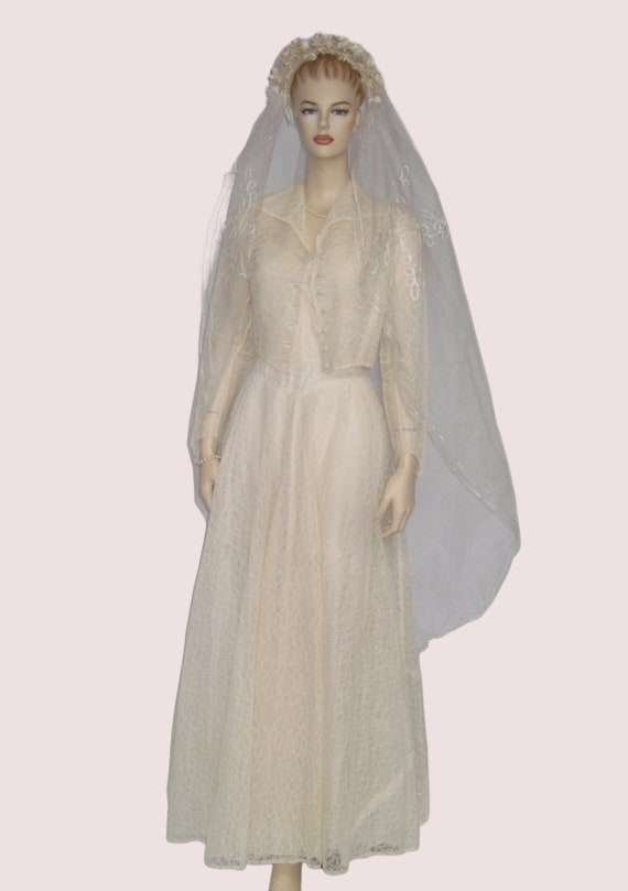 Vintage Wedding Dress, 1950s Wedding Dress Jacket… - image 2
