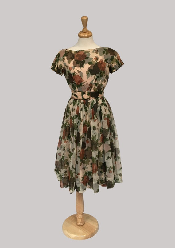 Vintage Dress, 50s Chiffon Dress, 50s Clothing,  M