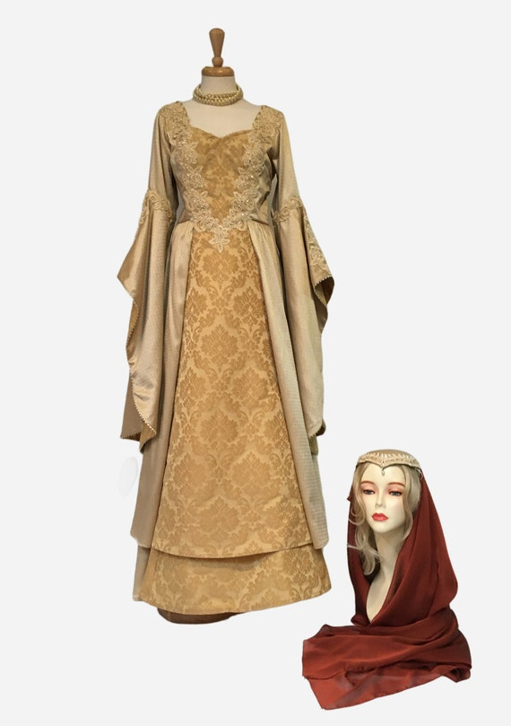 Renaissance Gown,Medieval Headdress,Larp Dress, Me