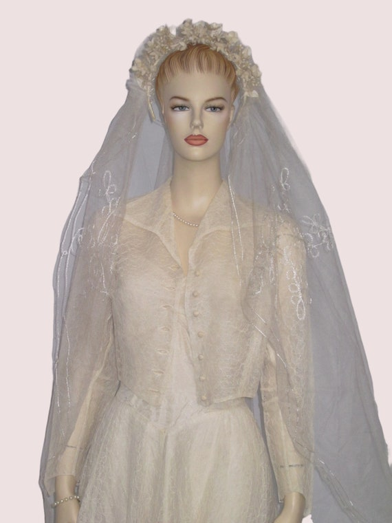 Vintage Wedding Dress, 1950s Wedding Dress Jacket… - image 1