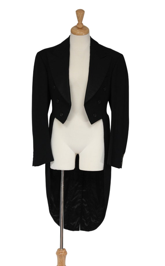 Steampunk Clothing, 1930s Black Vintage Tailcoat,