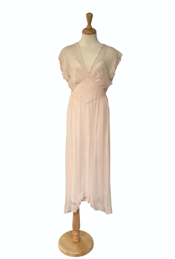Pink Chiffon Dress, Garden Party Dress, 1930s Maxi
