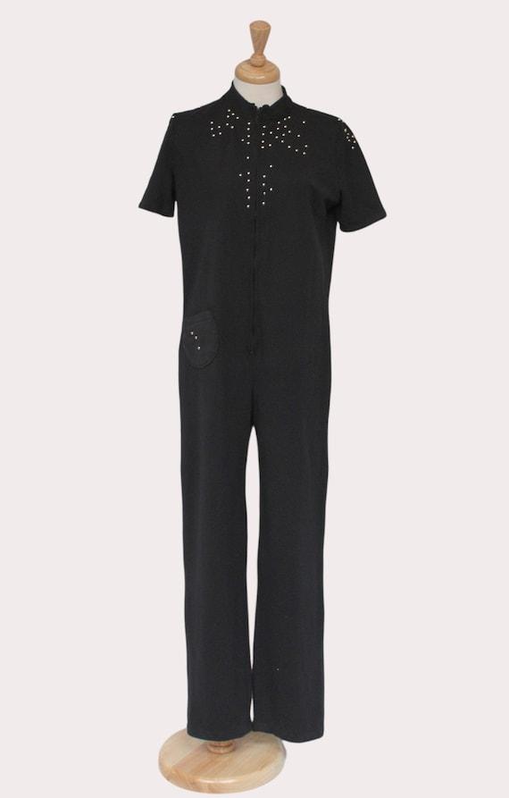 Black 70s jumpsuit, Vintage catsuit