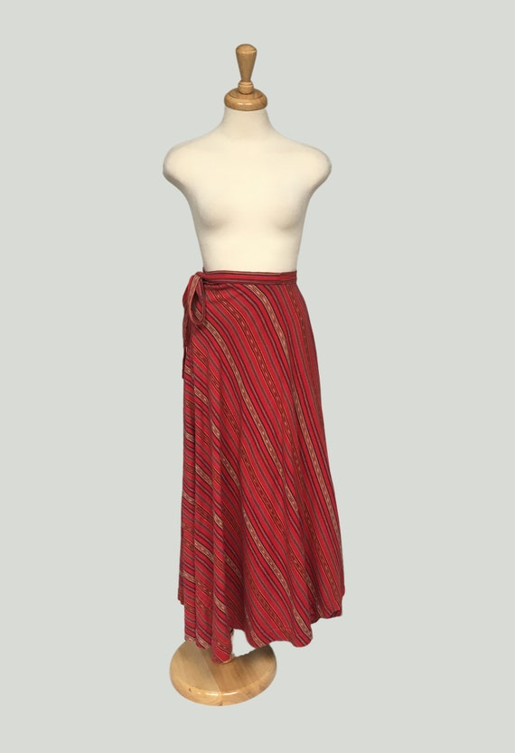 Vintage Boho Striped Cotton Maxi Skirt