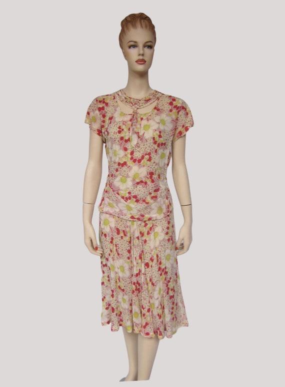 Vintage 1940s Rose Gold Floral Rayon Dress