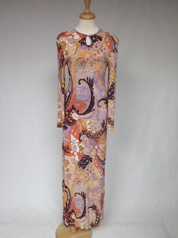 1960s Floral Paisley Boho maxi dress,