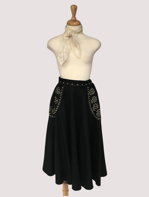 Wool Skirt, Vintage Clothing, 1950s Circle Skirt,