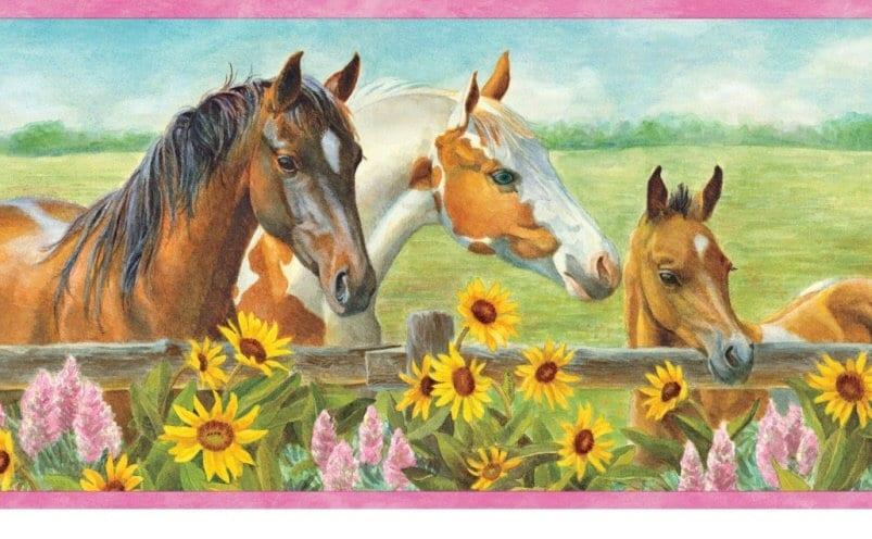 Harmony Horses At Fence Wallpaper Border GU92073b