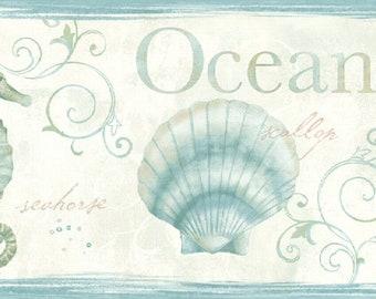 Seashells Sea Life Wallpaper Border Teal DLR53562b