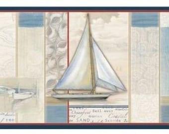 White Crossing Sailboat Lighthouse Wallpaper Border DLR53541b
