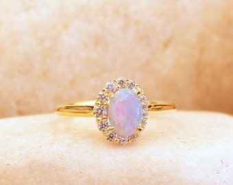 14k Gold Opal Ring / Dainty Opal Ring / Opal Stacking Ring / Natural Opal / Promise Ring / Opal and Swarowski RIng / Statement Ring