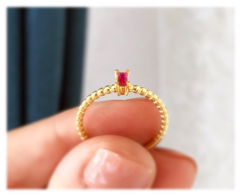 Colored Baguette Ring  14 K Gold Rings Unique Ruby Stackable Rings  14 K Gold Minimalist Diamond Rings