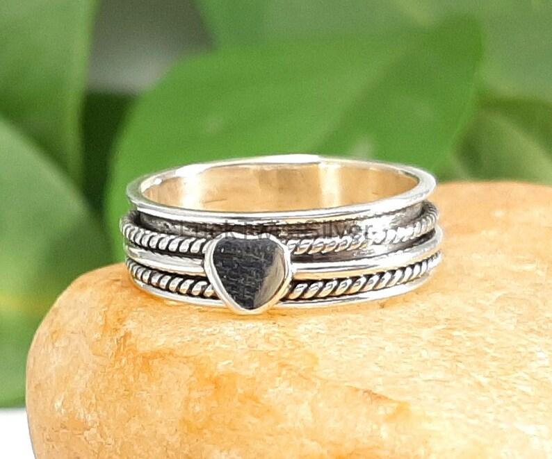 Heart Shape Design Silver Spinner Ring-925 Sterling Silver thumb Ring- 925 Sterling Silver Spinner Ring Sterling Silver Ring