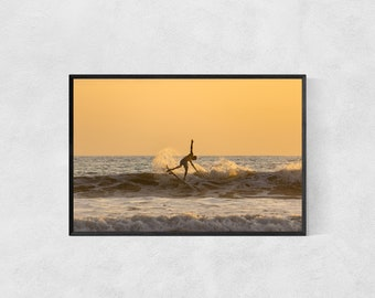 Acrobatic Sunset Surfing – Surf Poster – Surfer Wall Art – High Quality Lustre Print