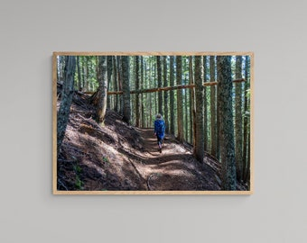 Mountain Trail Hiking – Oregon Travel Poster – United States – High Quality Lustre Print