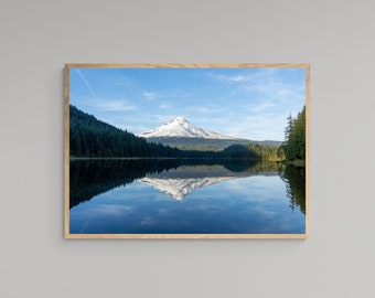 Mountain Reflection Over Lake – Mount Hood – Oregon Travel Poster – United States – High Quality Lustre Print