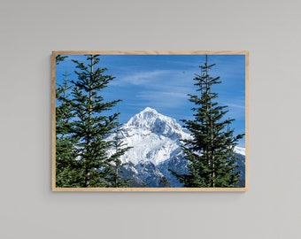 Mountain Summit Landscape – Mount Hood – Oregon Travel Poster – United States – High Quality Lustre Print