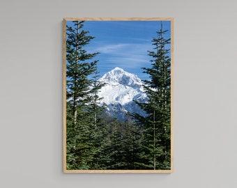 Mountain Summit Portrait – Mount Hood – Oregon Travel Poster – United States – High Quality Lustre Print