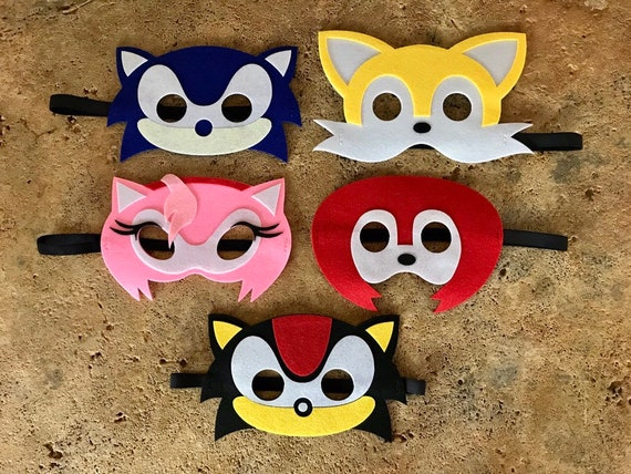 Set Of 5 Sonic The Hedgehog Party Masks Sonic The Hedgehog Etsy