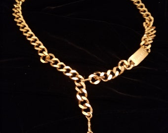 a1dbfd4259ac2 100% authentic CHANEL gold chain-link belt/necklace with CC medallion and  plate 34