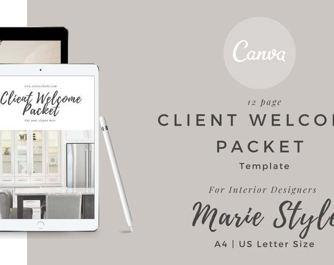 Marie Style Client Welcome Packet Canva template, Welcome guide template, Interior Designer Welcome Pack, Client Guide Interior