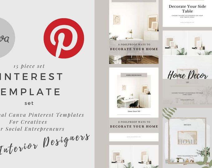 Modern Pinterest templates for your blog and business   Fully customizable Canva templates   Pin Template   Interior Design Template