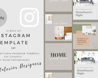 Instagram Post Template, Canva Instagram Presets for Interior Designers, Social Media Posts Theme , IG Photo Collage Graphics Layout Content