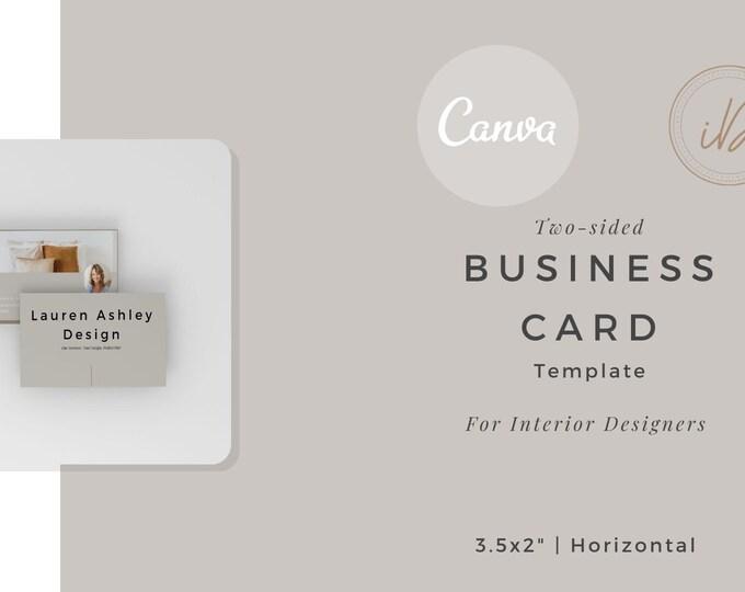Interior Designer Business Card Canva Template, Two-Sided, Designer Business Card, Printable, Editable, Home, Entrepreneur
