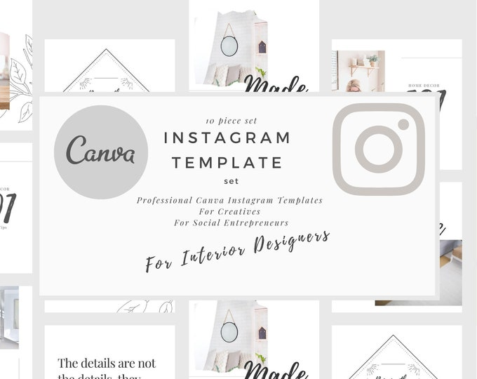 Marie Style Instagram Post Template, Canva Instagram for Interior Designers, Social Media Posts , IG Photo Collage Graphics Layout Content