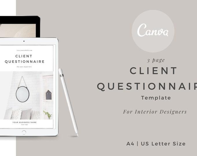 Client Questionnaire Canva template, Client intro, Questionnaire, Interior Designer Client, Client Interior