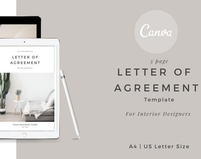 Featured listing image: Interior Design Hourly Letter of Agreement - Editable Template   Canva  Virtual Interior Designer Home Decorator Contract   INTERIOR DESIGN