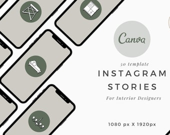 Instagram Story Highlights Template, 50 Canva Instagram for Interior Designers, Furniture Story , IG story Home Decor Furniture Stories