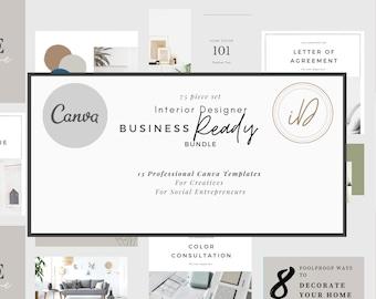 Interior Design Business Ready Pack, Canva template, Interior Design template, Interior Designer Bundle, Online Interior Design