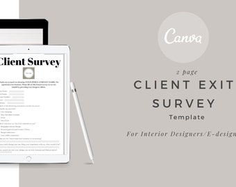 Client Exit Questionnaire Canva template , Client Exit, Questionnaire, Interior Designer Client, Client Interior Design Exit Survey,E-design