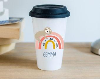 Personalised Rainbow Sloth Ceramic Travel Mug With Black Silicon Lid