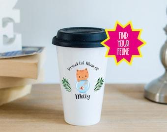 Personalised Ceramic Travel Mug With Black Silicon Lid - Proud Cat Mum Of...