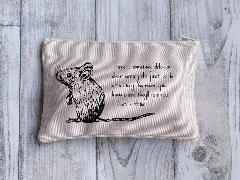 Beatrix Potter Quote Mouse  Purse Travel Pouch Gift for Her Women/'s or Girl/'s Holiday Purse