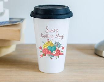 Personalised Ceramic Travel Mug With Black Silicon Lid - Knitting Mug
