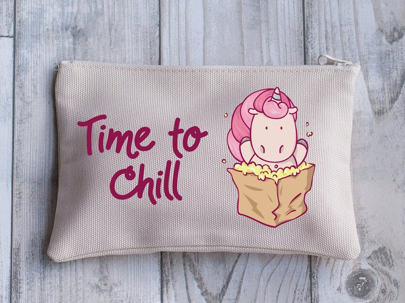 Travel Pouch Unicorn Purse Gift for Her Women/'s or Girl/'s Holiday Purse Time to Chill