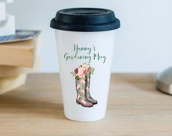 Ceramic Travel Mug With Black Silicon Lid - Nanny's Gardening Mug